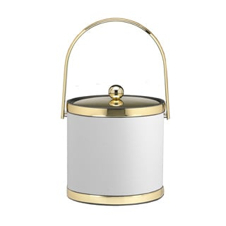 Sophisticates with Polished Gold 3-quart Ice Bucket with Track Handle and Metal Cover