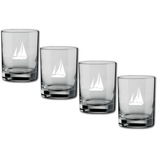 Kasualware 14-oz Glass DOF Sailboat (Set of 4)