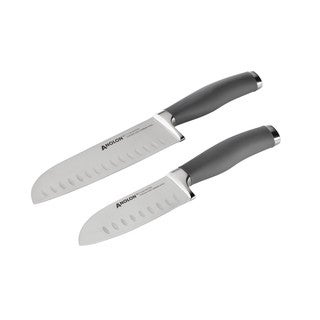 Anolon SureGrip Cutlery 2-piece Grey Japanese Stainless Steel Santoku Knife Set with Sheaths