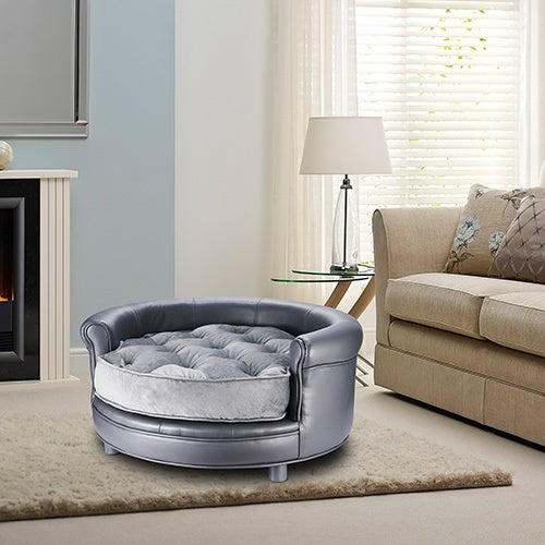 Villacera Chesterfield Faux Leather Large Dog Bed
