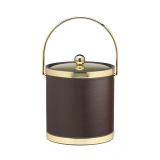 Sophisticates with Polished Gold 3-quart Ice Bucket with Metal Cover, Bands and Bale Handle
