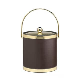 Kraftware Sophisticates with Polished Gold 3-quart Ice Bucket with Metal Cover, Bands and Bale Handle