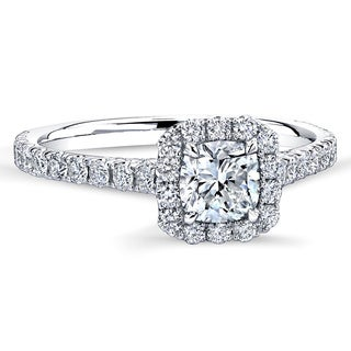 18k White Gold 1 1/5ct TDW Cushion-cut Center Diamond Halo Engagement Ring (G-H, VVS1-VVS2)