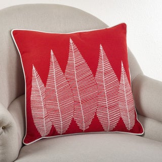 Stitched Leaf 20-inch Down Filled Throw Pillow