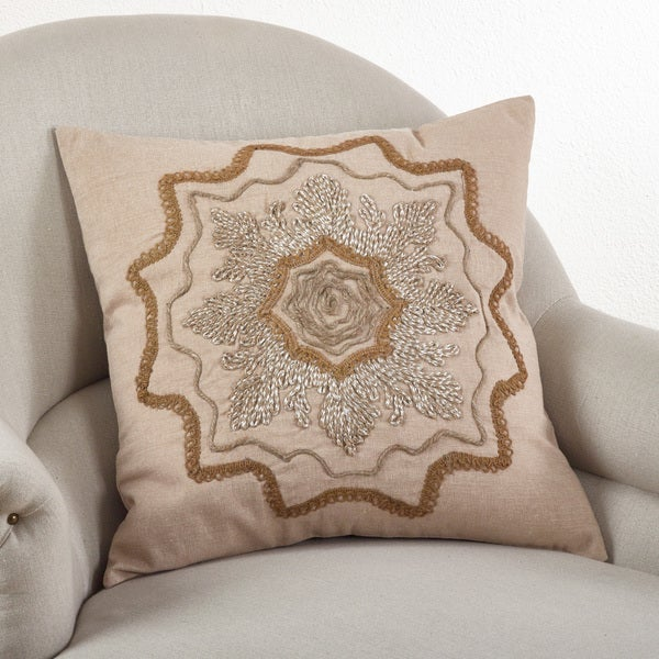 Embroidered Down Filled Throw Pillow