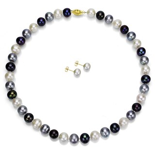 DaVonna 14k Gold Dark Multi-colored Freshwater Pearl Necklace and Earring Set (8-9 mm/ 18 in)