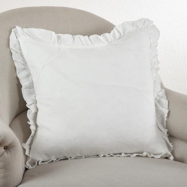Ruffled Linen Down Filled Throw Pillow
