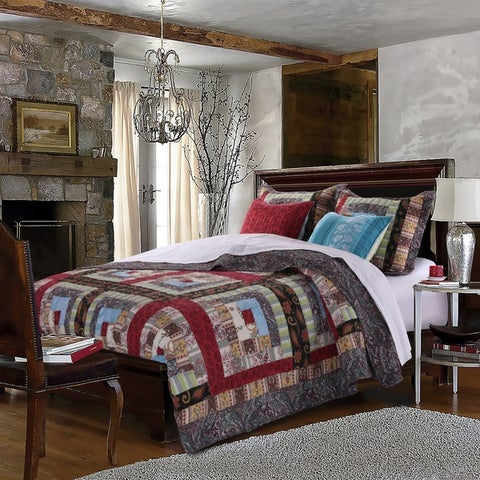 Greenland Home Fashions Colorado Lodge Authentic Patchwork Quilt Bonus Set - Multi