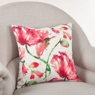 Floral Down Filled Linen Blend Throw Pillow