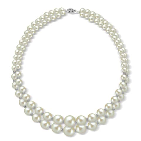 DaVonna Sterling Silver Graduated 2-rows 6-11mm White Freshwater Pearl with Sparkline cut beads Necklace, 16""