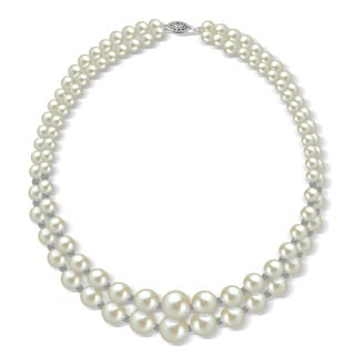 DaVonna Sterling Silver 2rows Graduated 6-11mm White Freshwater Cultured Pearl with Sparkline cut beads Necklace, 16""