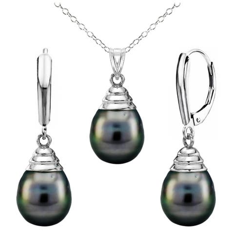 DaVonna Sterling Silver 10-11mm Black Off Shape Tahitian Pearl Pendant and Lever-back Earrings Set (18 in)