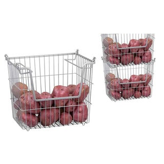 Home Basics Stackable Metal Pantry Wire Organizer Basket (Set of 2)