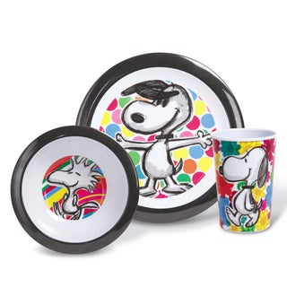 Gibson Peanuts Festive Sketch Kids Dinnerware Set (3 piece Set)