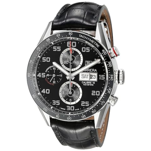 Tag Heuer Men's CV2A1R.FC6235 'Carrera' Chronograph Automatic Black Leather Watch