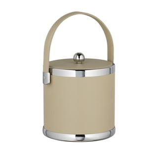 Contempo 3-quart Ice Bucket, Fabric Lid, Matching Stitched Handle, Chrome Upper and Lower Rings