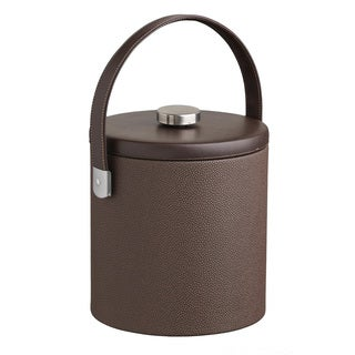 Cosmopolitan 3-quart Ice Bucket with Thick Flat Lid, Brushed Metal Flat Knob, Strap Handle