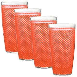 Fishnet 22-ounce Peach Echo Doublewall Drinkware (Set of 4)