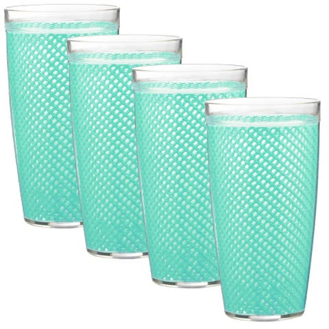 Kraftware Fishnet 22-ounce Limpet Shell Doublewall Drinkware (Set of 4)