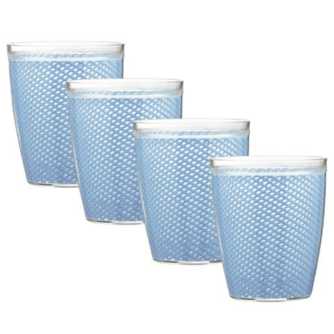 Kraftware Fishnet 14-ounce Serenity Doublewall Drinkware (Set of 4)