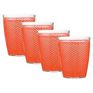 Kraftware Fishnet 14-ounce Peach Echo Doublewall Drinkware (Set of 4)