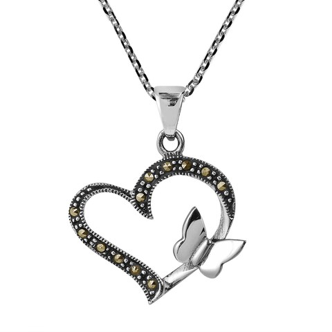 Handmade Butterfly Kiss Open Heart Marcasite .925 Silver Necklace (Thailand)