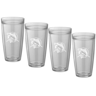 Kraftware Kasualware 22-ounce Doublewall Tall Drink Fishin' (Set of 4)
