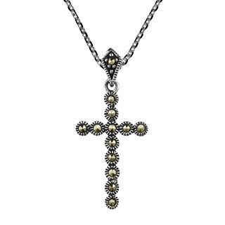 Modern Cross of Faith Marcasite Sterling Silver Necklace (Thailand)