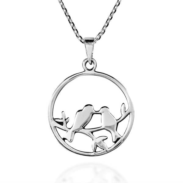 d4c6c289bbe98 Shop Handmade Love Birds Kisses on Branch Sterling Silver Necklace ...