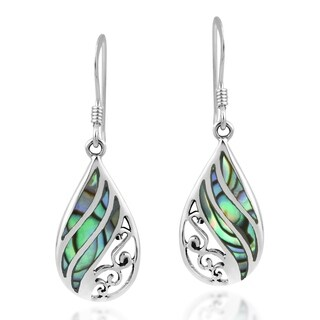 Swirl Rainbow Teardrop Abalone .925 Silver Dangle Earings (Thailand)