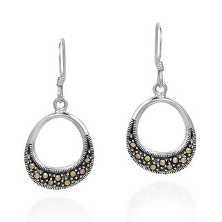 Subtle Symmetry Marcasite Sterling Silver Dangle Earings (Thailand)