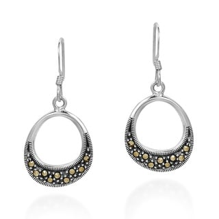 Handmade Subtle Symmetry Marcasite Sterling Silver Dangle Earings (Thailand)
