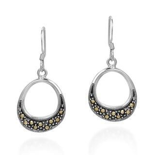 Handmade Subtle Symmetry Marcasite Sterling Silver Dangle Earings (Thailand)
