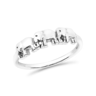 Handmade Family of Three Elephants Parade Sterling Silver Band Ring (Thailand)