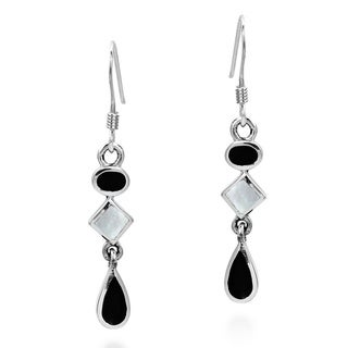 Handmade Geometric Black and White Drop .925 Silver Dangle Earrings (Thailand)