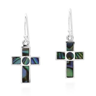 Rainbow Cross Inlaid Abalone .925 Silver Dangle Earrings (Thailand)
