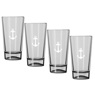 Kasualware 16-ounce Pint Glass Anchor Blue (Set of 4)