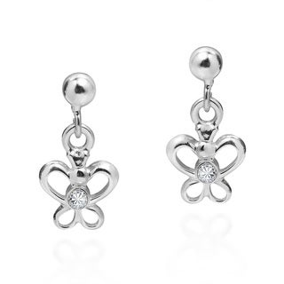 Tiny Butterfly Cubic Zirconia .925 Silver Dangle Earrings (Thailand)