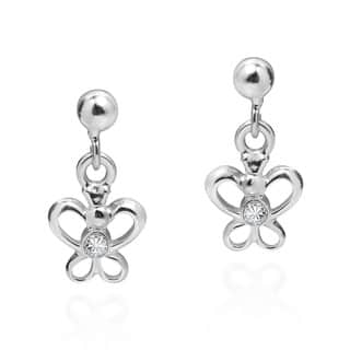 Handmade Tiny Butterfly Cubic Zirconia .925 Silver Dangle Earrings (Thailand)|https://ak1.ostkcdn.com/images/products/11678460/P18603794.jpg?impolicy=medium