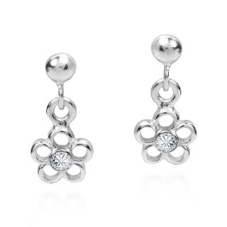 Tiny Daisy Cubic Zirconia .925 Silver Post Dangle Earrings (Thailand)