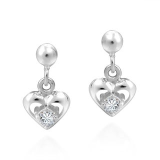 Tiny Heart Cubic Zirconia .925 Silver Post Dangle Earrings (Thailand)