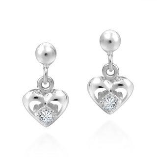 Handmade Tiny Heart Cubic Zirconia .925 Silver Post Dangle Earrings (Thailand)
