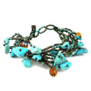 Handmade Chunky Stone Bracelet - Turquoise (Guatemala)
