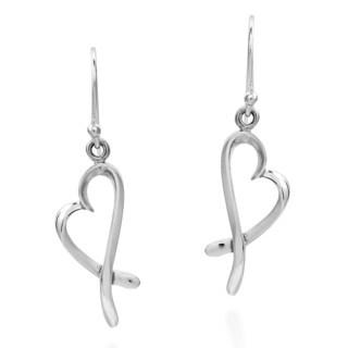 Handmade Dancing Ribbons Open Hearts Sterling Silver Dangle Earrings (Thailand)