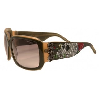 Ed Hardy EHS-001 Skull and Roses Olive/ Green Sunglasses