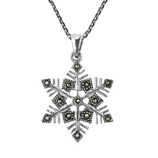 Winter Snowflake Twinkling Marcasite .925 Silver Necklace (Thailand)