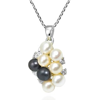 Handmade Cluster Pearl Grape Cubic Zirconia .925 Silver Necklace (Thailand)