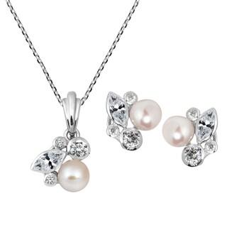 Handmade Sophisticated Pearl Cubic Zircoania .925 Silver Jewelry Set (Thailand) - peach