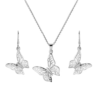 Monarch Butterfly .925 Silver Necklace Earrings Jewelry Set (Thailand)