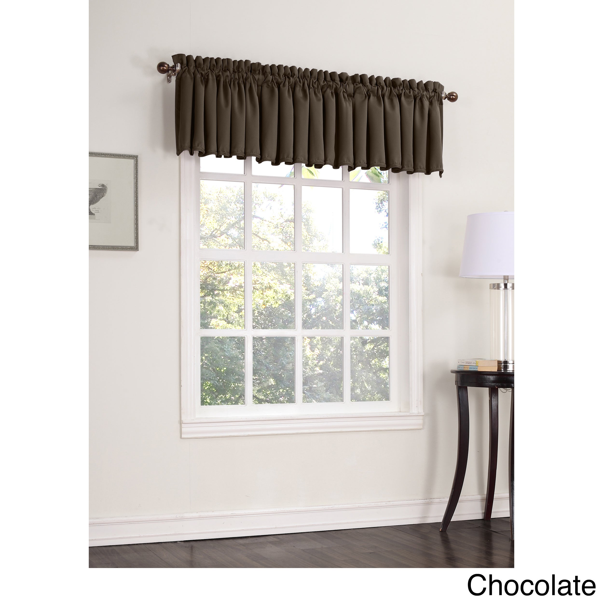Sun Zero Galia Room Darkening Window Valance (Chocolate 1...